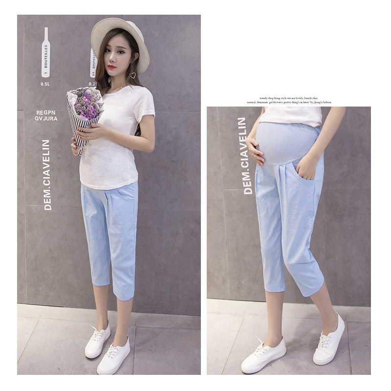 Loose fit Casual Adjustable Waist Capris For Pregnancy