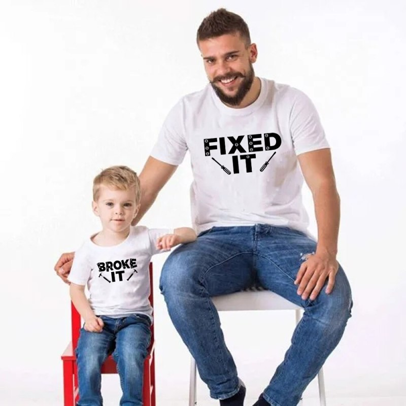 Broke It Fixed It Dad Son Same Look White Tee