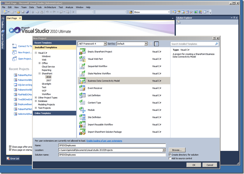 Creating a SharePoint 2010 External Content Type with CRUD Methods using LINQ and a SQL LOB System (3/6)