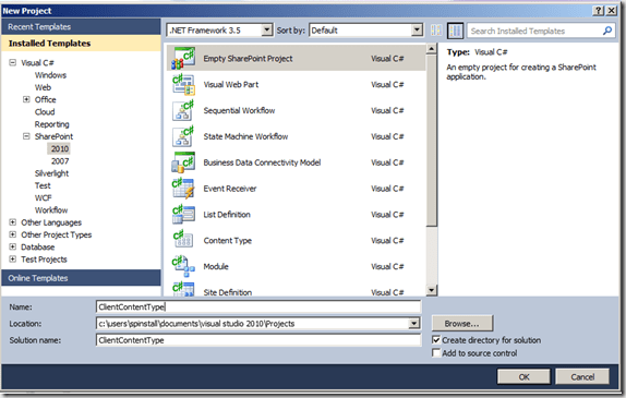 How To: Create Content Types with Site Columns in Code Visual Studio 2010 for SharePoint 2010 (1/6)