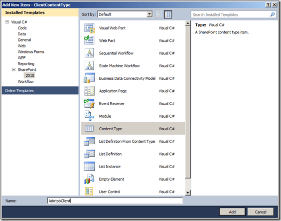 How To: Create Content Types with Site Columns in Code Visual Studio 2010 for SharePoint 2010 (4/6)