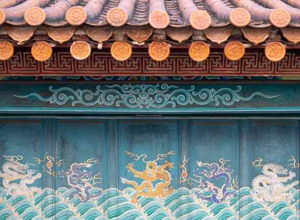 Chinese temple wall