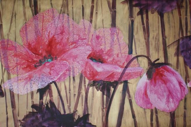 Dentelles Roses - www.fabiennecolin.com Acrylique sur toile 140X96