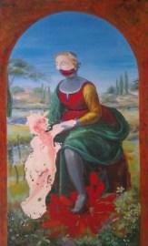 La Belle Jardinière - www.fabiennecolin.com Acrylique sur toile format approximatif 190X 80