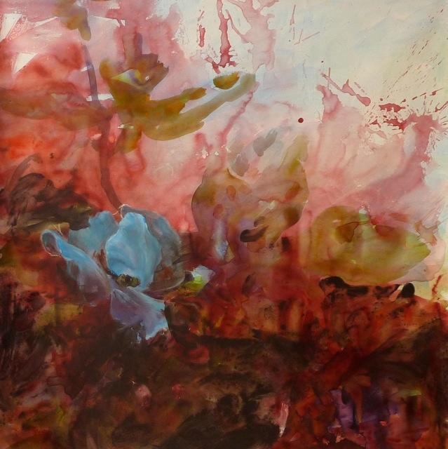 Fleur Bleue - www.fabiennecolin.com Acrylique sur toile 100X100.