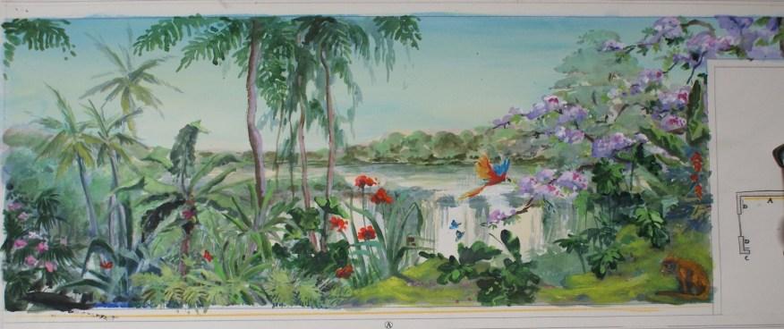 Esquisse pour le mur principal d'un salon. Thème végétation luxuriante, fleurs et faune colorées.