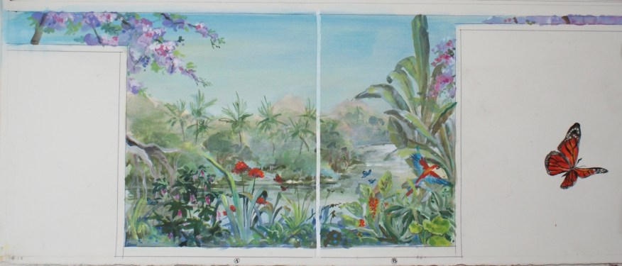 Esquisse pour un mur d'angle d'un salon. Thème végétation luxuriante, fleurs et faune colorées.