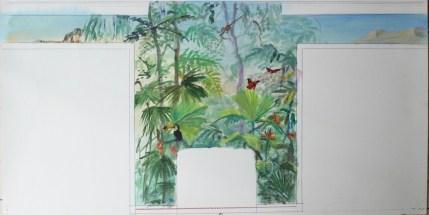 Esquisse pour le mur de cheminée d'un salon. Thème végétation luxuriante, fleurs et faune colorées.