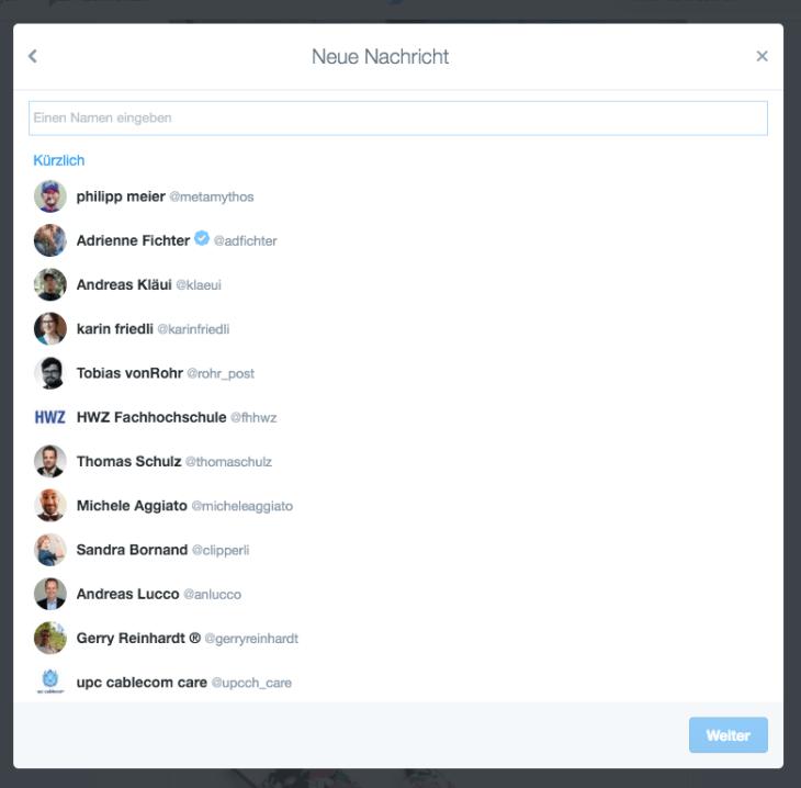 Direktnachricht auf Twitter
