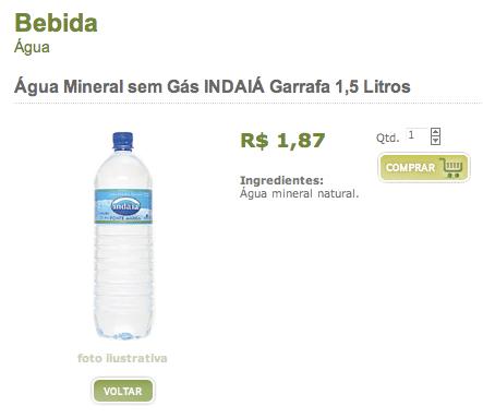 Agua Indaia sem gas