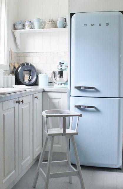 smeg geladeira azul pastel