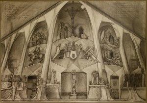Desenho do frontão da Sagrada Família no Museu da Igreja