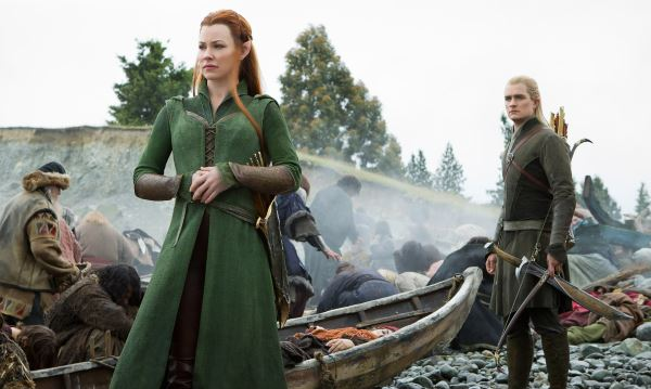 Evangeline Lilly as Tauriel and Orlando Bloom as Legolas