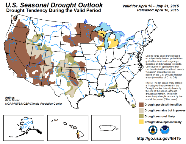 NOAA Seasonal drought outlook thru July 2015