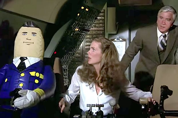 "Julie Hagerty & Leslie Neilsen in ""Airplane!"" (Paramount Pictures)"
