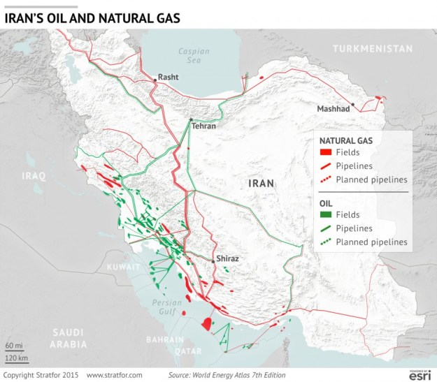 Map of Iran's oil & natural gas fields
