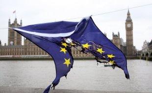 EU flag burned
