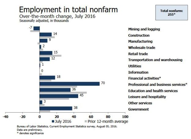 Employment Change by sector - July 2016.