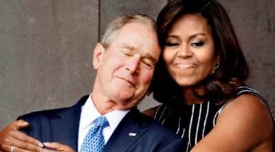Michelle Obama hugs George Bush Sr.