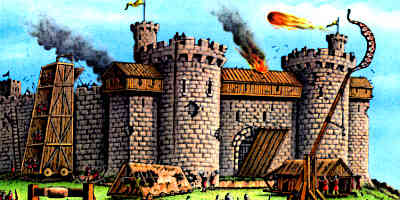 Medieval castle under attack