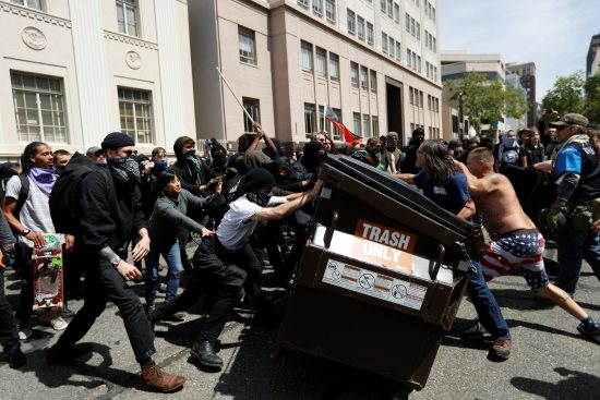 Berkeley protest: fighting over a garbage container