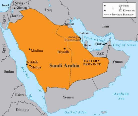 Map of the Saudi Arabia region