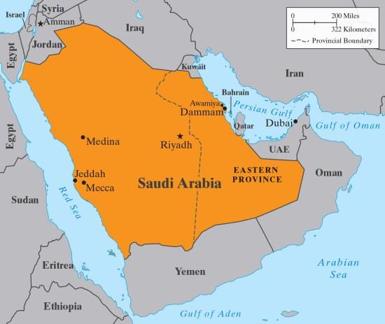 Map of the Saudi Arabia region