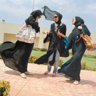 Students at Effat Women's University, Jeddah, Saudi Arabia, 2009; photograph by Olivia Arthur from her 2012 book, <i>Jeddah Diary</i>