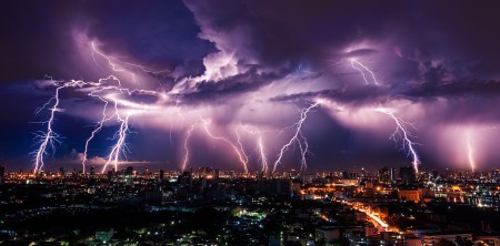 Extreme lightning over the city.