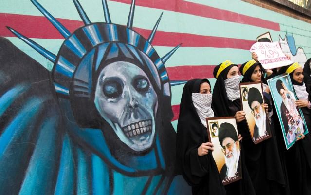ranian poster of the Great Satan and the Ayatollah