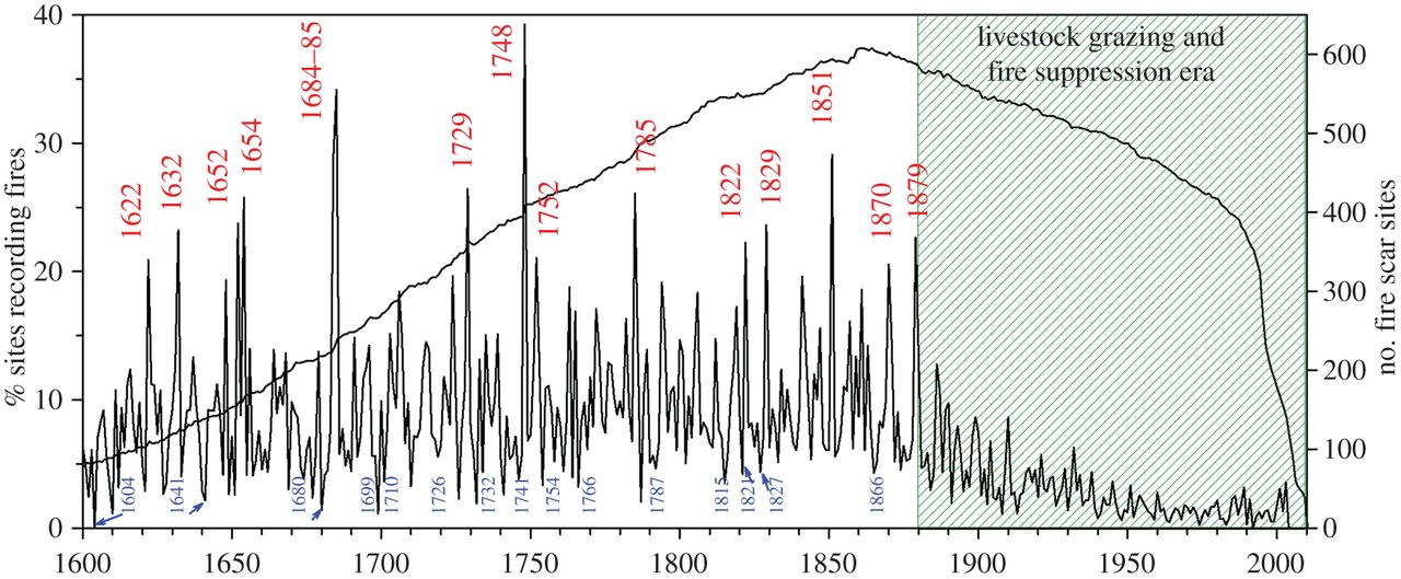 Wildfires in North America 1600-2000
