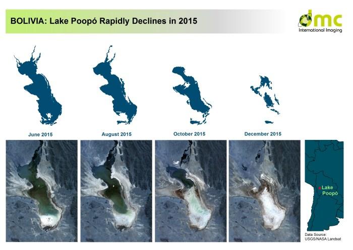 Map of Lake Poopo seem by Landsat