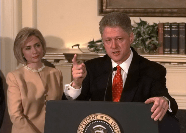 Bill Clinton at press conference denying affair with Monica Lewinsky