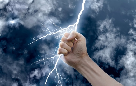 Lightening held in a hand