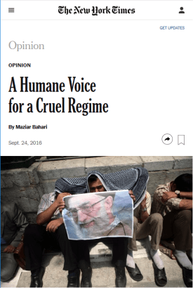 NYT about the Iran Regime, 24 September 2016