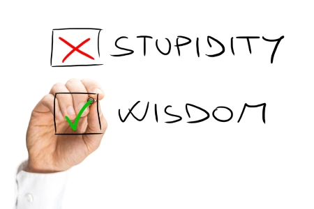 Marking yes for wisdom - no for stupidity - dreamstime-47862591