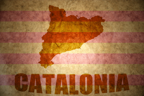 Catalonia map on a vintage Catalonia flag background.
