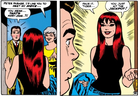 Mary Jane Watson meets Peter Parker in the comics
