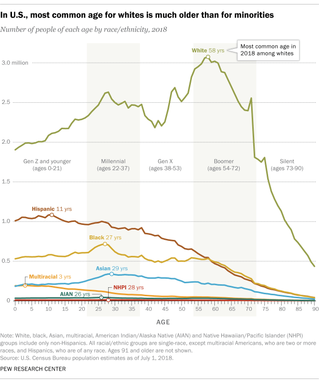 Graph of racial composition of America by race and age