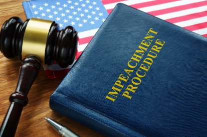 Impeachment procedure: gavel, book, and flag