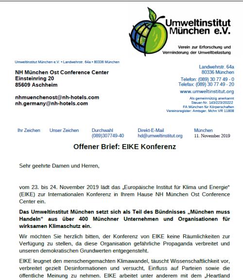 Antifa letter to disinvite EIKE