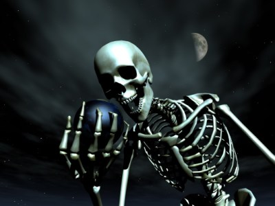 Skeleton holding the Earth - Dreamstimefree-1212021