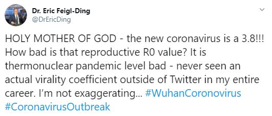 Tweet by Feigl Ding about coronavirus