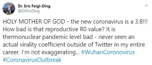 Tweet by Feigl Ding about coronavirus
