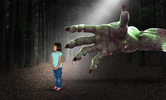 Monster's hand grabbing little girl - Dreamstime-123949643