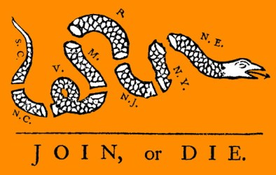 """Join, or Die"" by Benjamin Franklin (1754)."