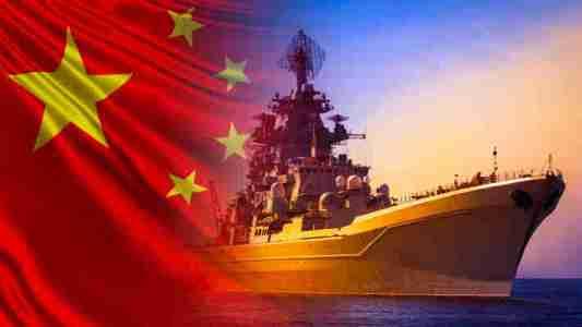 Chinese navy flag and ship - AdobeStock - 332089251