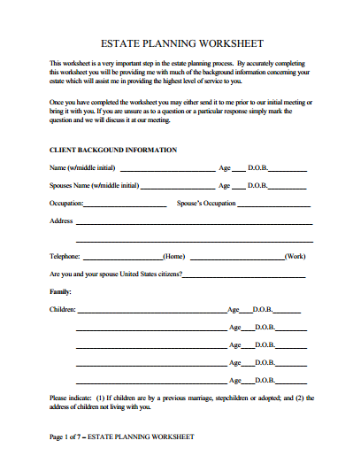 Estate Planning Worksheet  James F Taylor