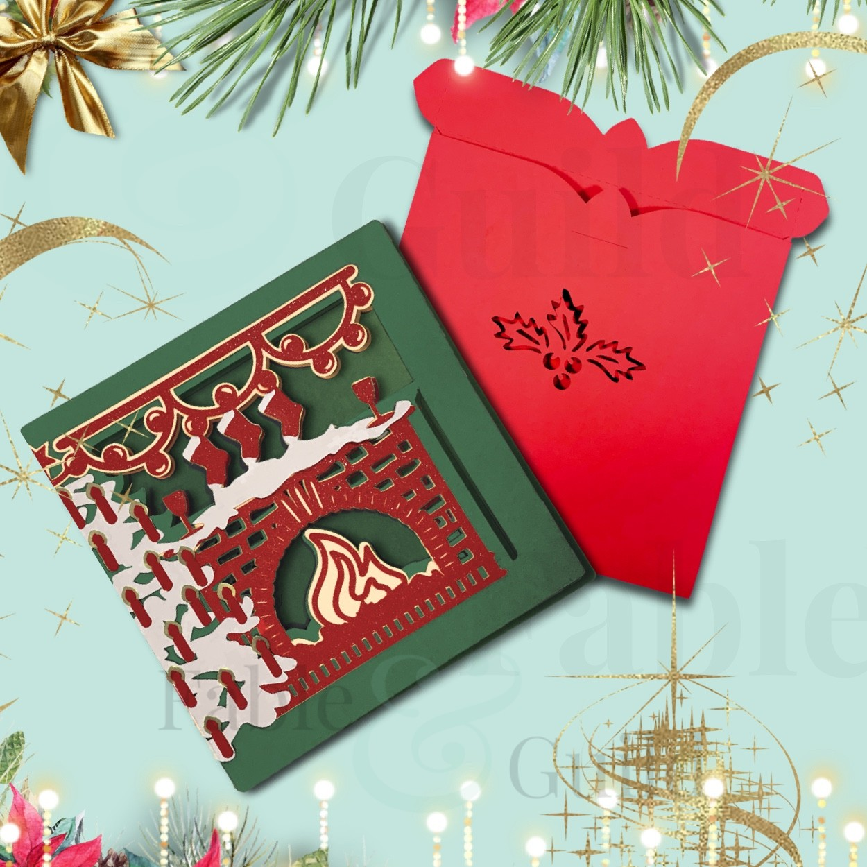 3d svg files for gift card holders, gift boxes, cards, rolled roses, and more 3d svg files! Festive 3d Christmas Card Svg Cut File Fable Guild