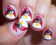 cute angry birds nail art design